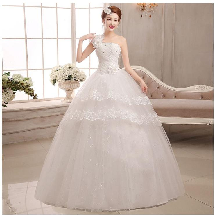 Wedding Dresses - White One Shoulder Wedding Dress Bridal Ball Gown ...