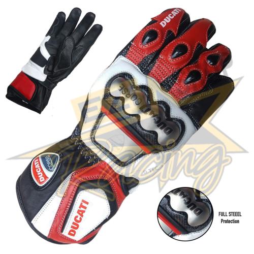 Ducati Corse MotoGp Genuine Leather Motorbike Gloves Replica All Sizes Available