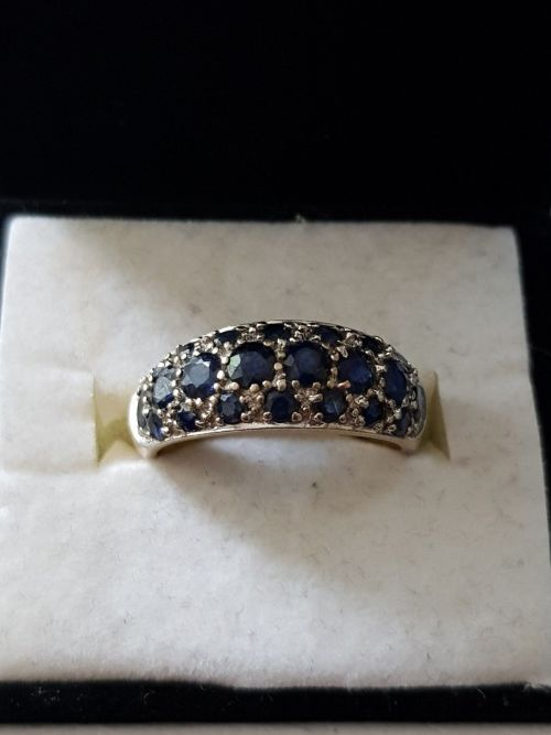 Rings Multi Light Blue Sapphire 9ct Gold Cluster Ring