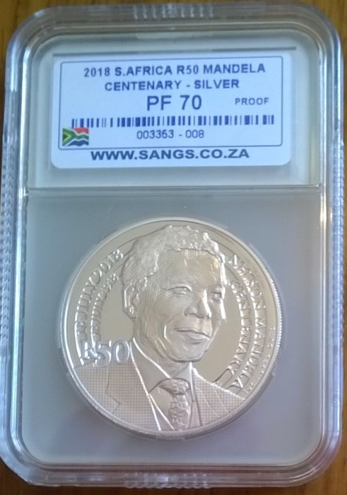 2018 NELSON MANDELA CENTENARY SILVER R50 COIN SANGS GRADED PROOF 70   PERFECT!!! SIMPLY THE BEST!!