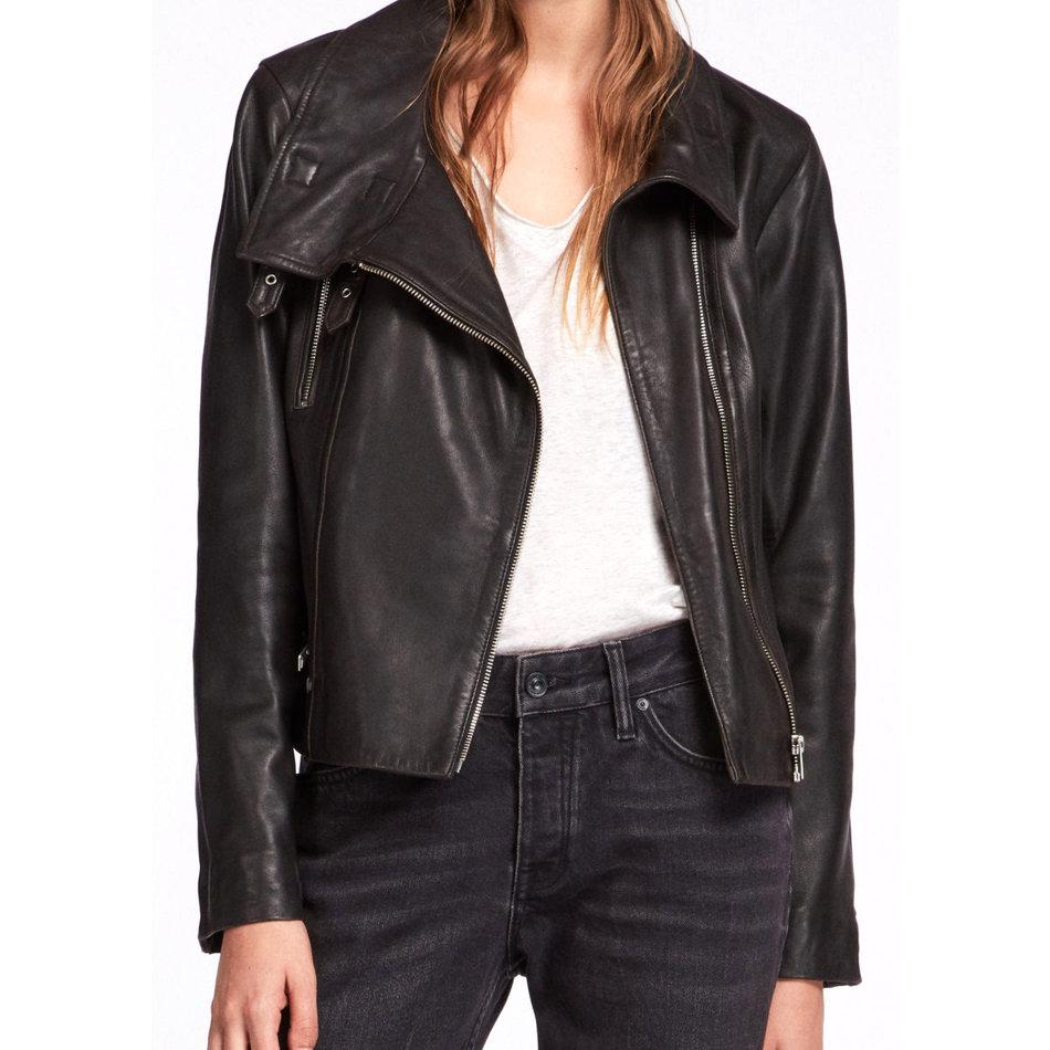 15f2f83d0d5 Leather Jacket for Women Short Biker Collar Original Real Lambskin  Sheepskin Bomber Pure Leather