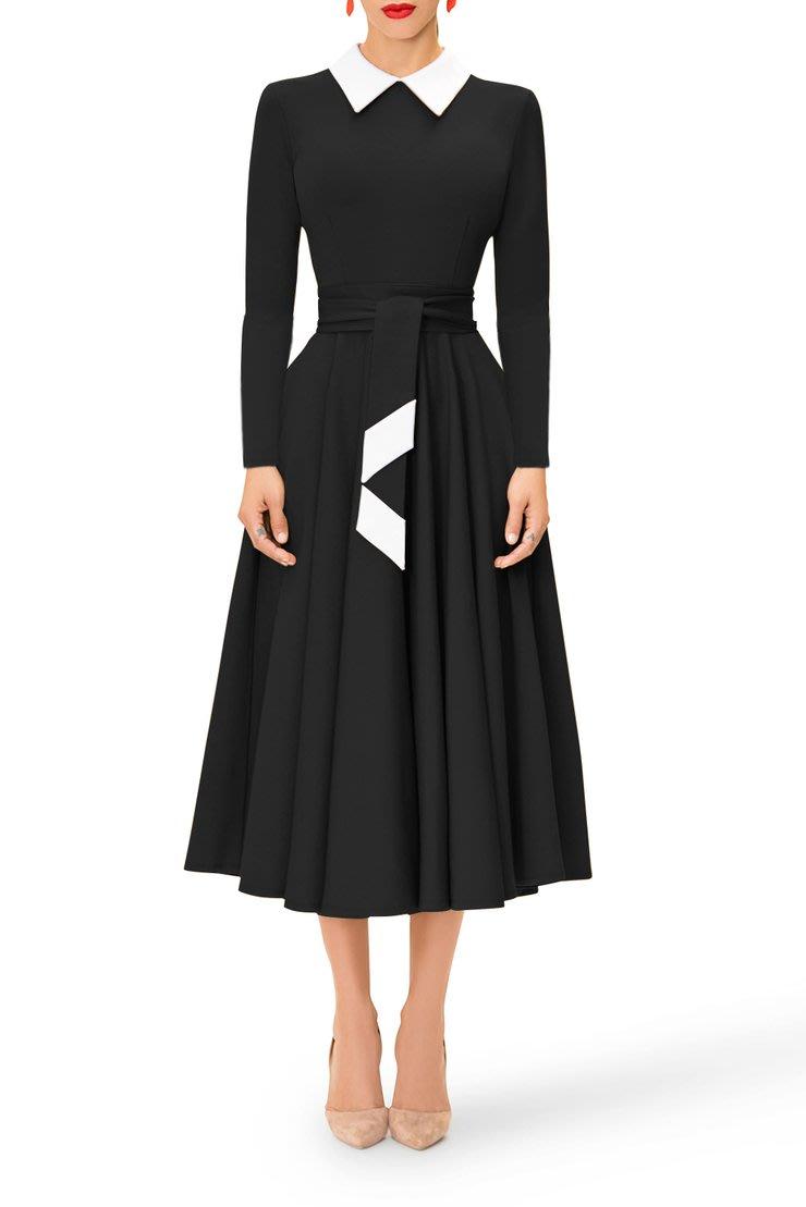 Formal Dresses Black Vintage Fit And Flare Retro Midi