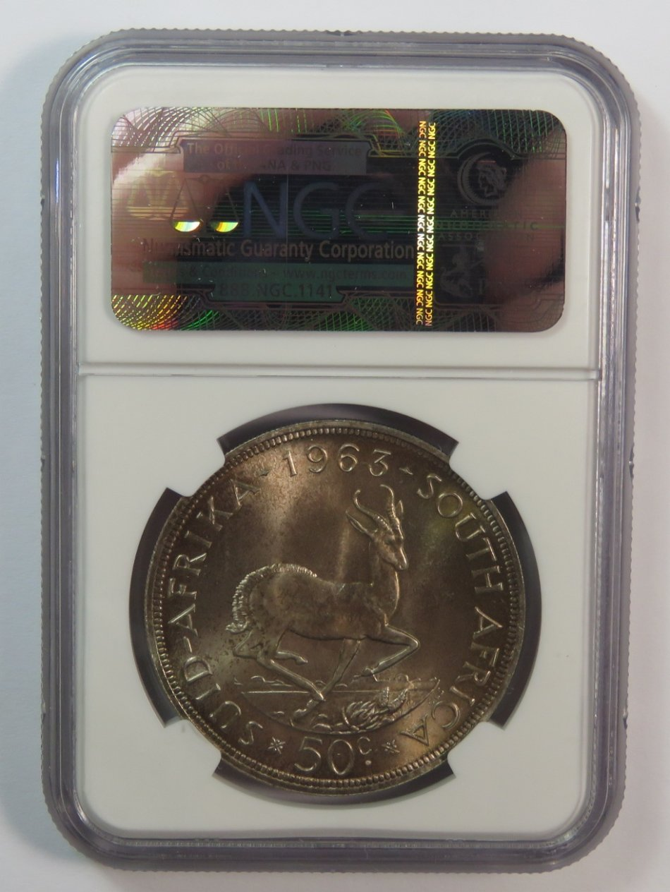 RSA graded 1963 silver 50c graded proof 66 by NGC - Wow