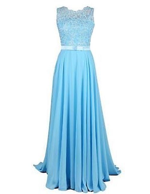 2f3bb81419 *WILD ROSE* Light Blue Chiffon Lace Bridesmaid Evening Dress - Free  Shipping!
