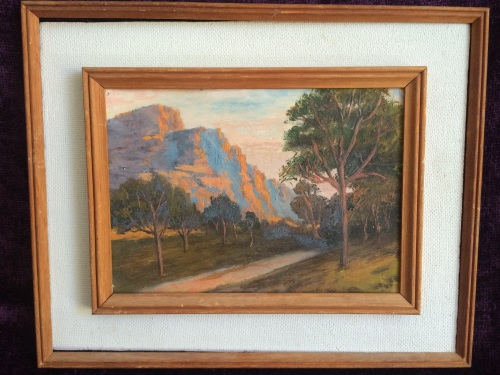 unknown artist mountain with trees cute unknown painting 27 x 22 cm inner frame 20 x 14 5. Black Bedroom Furniture Sets. Home Design Ideas