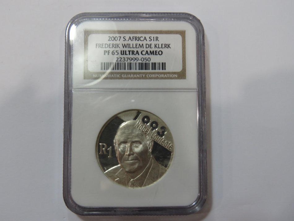 2007 RSA De Klerk proof silver R1 graded PF 65 Ultra Cameo by NGC