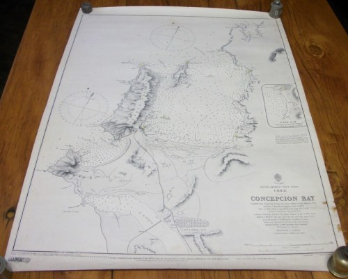 Antique Admiralty Nautical Chart, Published 1873, Corr  1905 - Concepcion  Bay (South America, Chile)