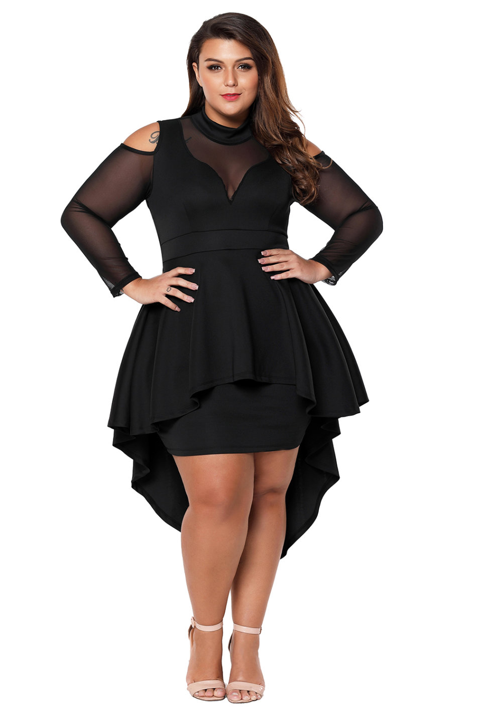 4ef0689144d Formal Dresses - Black Plus Size Mesh Trim Hi-Lo Peplum Dresses - XL ...