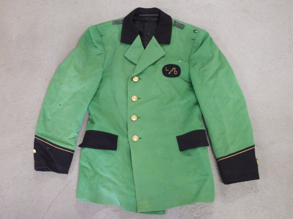 Green Military band jacket with buttons and flag on back