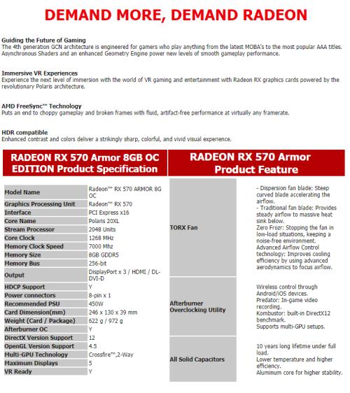 Graphics & Video Cards - MSI Radeon RX 570 8GB Armor OC Edition