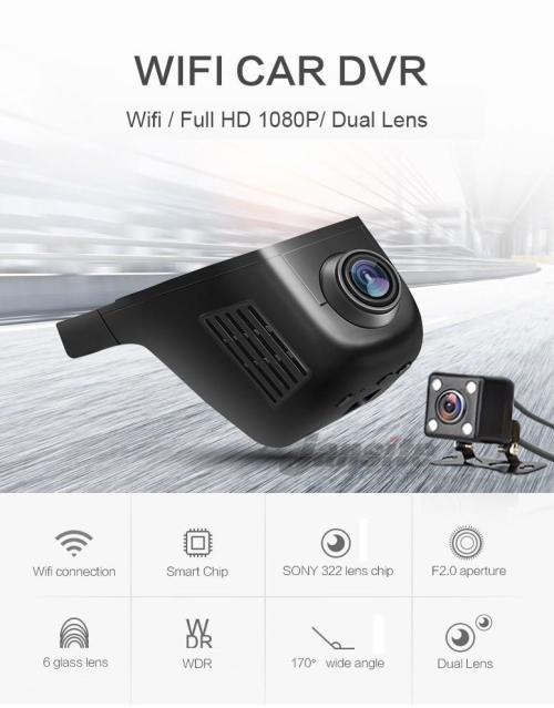 HD Dual Wifi Dash Camera, 2 Cameras Back and Front