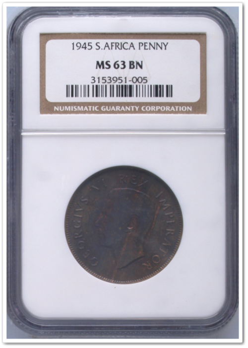 ** THIRD FINEST ** 1945 PENNY MS63 BN NGC !! STARTING @ R1