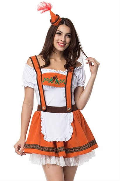 e52860552a9 Orange/White Bavarian Oktoberfest Fancy Dress Sexy Beer Girl Costume German  Beer Maid Outfits