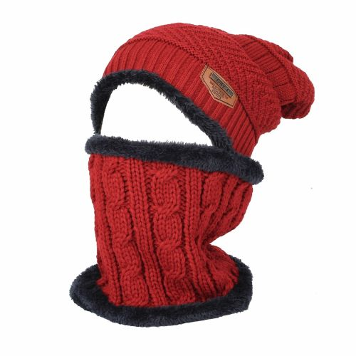 daf971eac Mens Womens Kids Cable Fleece Winter Knit Beanie Hat Slouchy Cap Neck Warmer