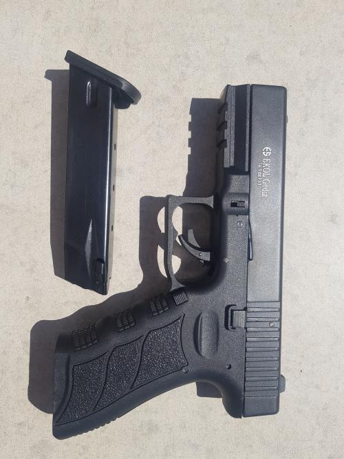 Self Defence Blank Replica Gun Blank pistol Ekol Gediz black, cal  9mm Glock