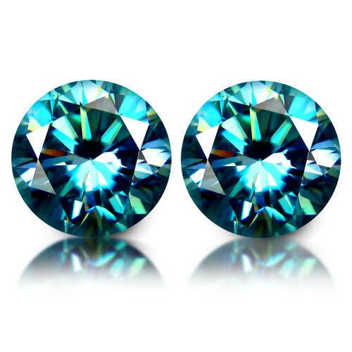 2 81cts PAIR GLORIOUS!!! GOOD SPARKLES BLUE MOISSANITE - HUE DIAMOND