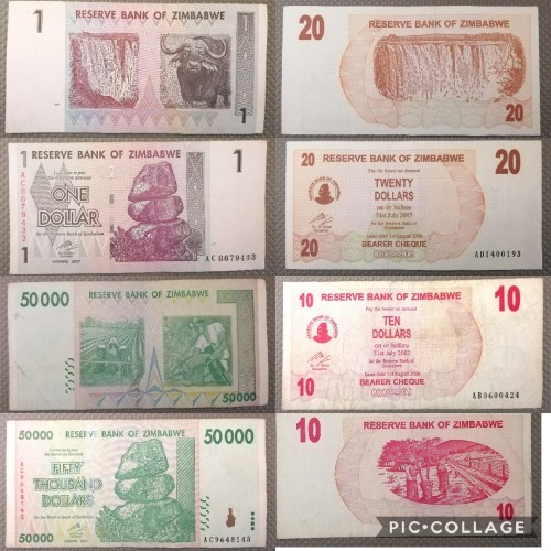 9 X Zimbabwe Currency Notes Collection