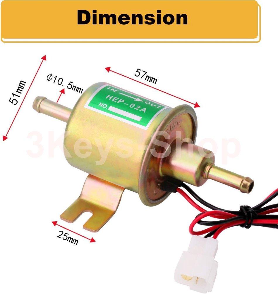 Electric Fuel Pump 12V Gas Diesel Inline pump 2.5-4 PSI HEP-02A Low Pressure