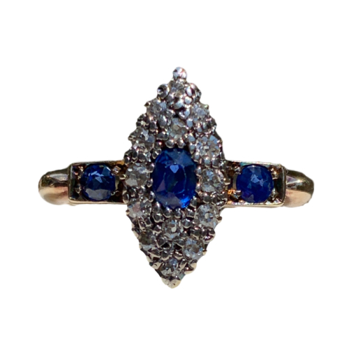18Ct Yellow Gold Sapphire And Diamond Ring For