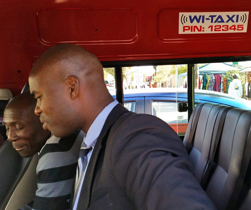 wi-fi hotspot in a taxi mini bus