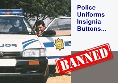 police uniforms and insignia banned from bidorbuy