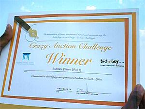 bidorbuy Crazy Auction certificate